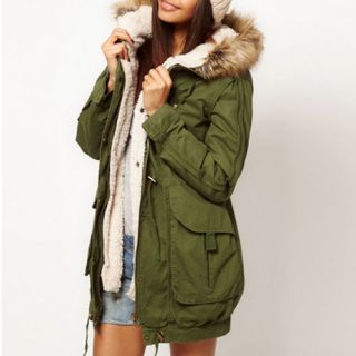Women Thicken Fleece Warm Winter Coat Zip Hooded Parka Overcoat Long