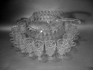 Indiana Glass Punch Bowl Set w Cups & Ladle Laurel & Wreath   #1010