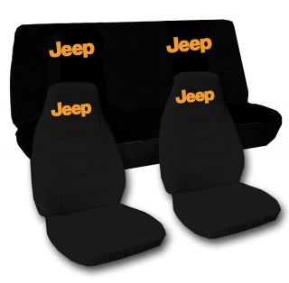 Jeep wrangler YJ front+back car seat covers solid black w/Jeep,CHOOSE