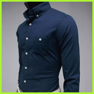 New Mens casual Dress style Slim fit Washing cotton 100% Navy shirts L