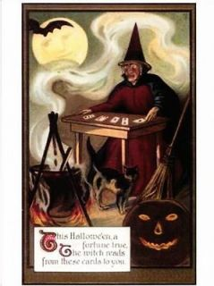 Halloween Witch Fortune Teller Playing Card Reader Repro Postcard #76