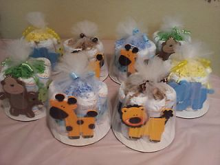 mini diaper cake, monkey, giraffe & lion baby shower centerpiece