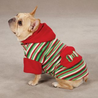 Casual Canine Christmas Fleece Dog Hoodies Striped Holiday Puppy