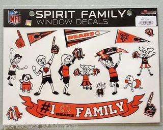 Chicago Bears Spirit Family Decals NEW NFL car/truck window   Set of