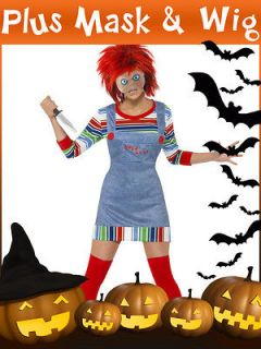 LADIES CHUCKY HORROR HALLOWEEN FANCY DRESS COSTUME OUTFIT CHILDS PLAY