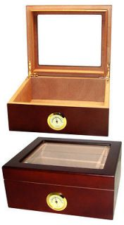 CUBAN CRAFTERS GLASS TOP MIO CIGAR HUMIDOR   SPANISH CEDAR   BRAND NEW
