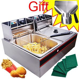 NEW COMMERCIAL ELECTRIC DUAL BASKET DEEP FRYER RESTAURANT 50~200℃