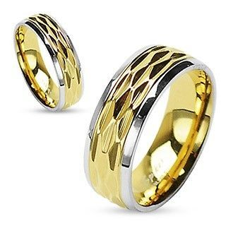 TWO TONE GOLD PLATE GROOVE WEDDING RING SET 5 6 7 8 9 10 11 12 13 14