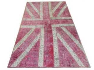 Union Jack Patchwork Rug Made from Recycled Overdyed Vintage Oriental