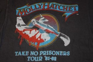 vtg 80s 1983 thin MOLLY HATCHET take no prisoners CONCERT TOUR t