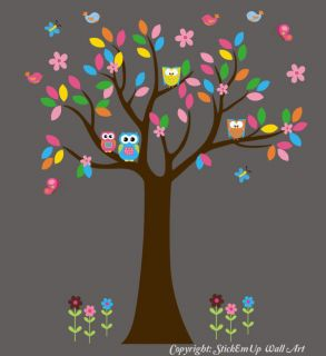 Wall Decals Nursery Baby Woodlands/Tree/Forest/Owls 74 x 68 Seramark
