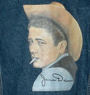 COUNTRY STORE James Dean Print Denim Jean Jacket Leather Collar Sz XL