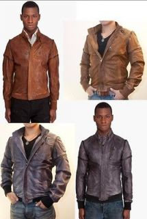 Gray diesel leather jacket in Clothing,