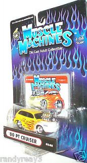 MUSCLE MACHINES 2002 1/64 DIECAST YELLOW W/FLAMES 00 BLOWN PT CRUISER