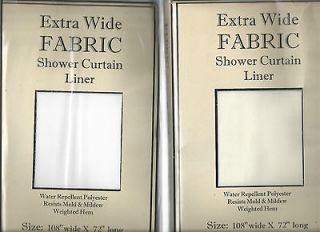 108 EXTRA WIDE FABRIC SHOWER CURTAIN LINER WATER REPELLENT WHITE or