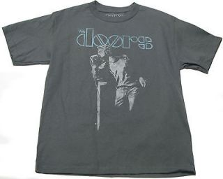 OFFICIAL THE DOORS JIM MORRISON SINGING ROCK GRAY ADULT MENS TEE T