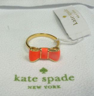 NEW AUTHENTIC KATE SPADE Orange TAKE A BOW Ring with Gift bag NWT