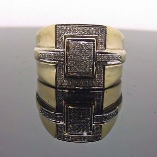 Wedding Mens 10K Yellow Gold Diamond Ring MicroPave Pinky Iced Dang