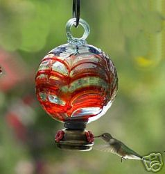 DEW DROP Red Parasol Glass Hummingbird Feeder w/Gondola