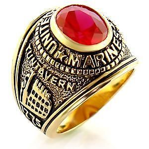 R219 12   GOLD PLATED SIMULATED RUBY USMC MARINE CORPS SURPLUS MENS