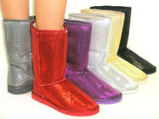 SOoO Cute Sequins Glitter *FAUX FUR LINED* Ankle Calf High Boot
