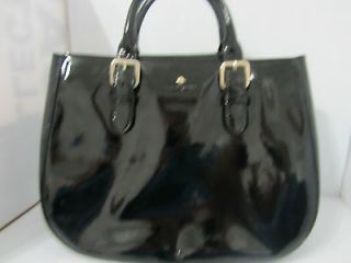 Kate Spade Charlotte Street sylvie satchel bag, black Patent Sample