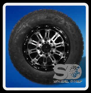 GLOSS BLACK RIMS WITH 265 70 17 FALKEN WILD PEAK TIRES WHEELS RIMS