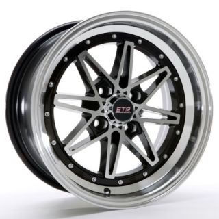 15 INCH STR505BM BLAK MACH RIMS AND TIRES 4X100 ACCORD CIVIC FIT