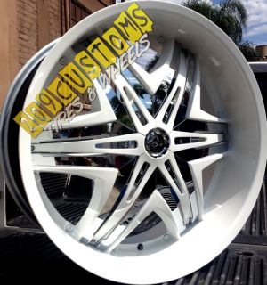 26 inch Wheels Rims Tires Diablo Elite White 5x115 Dodge Challenger