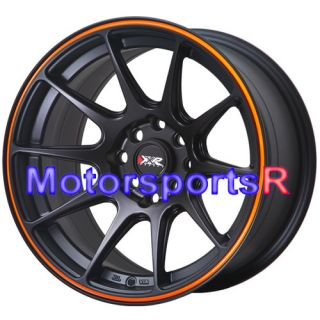 Black Orange Stripe Concave Rims Wheels Stance 4x100 BMW E30