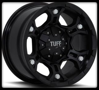 TUFF T03 ESCALADE SILVERADO SAFARI AVALANCHE 5 6 LUG BLACK WHEELS RIMS