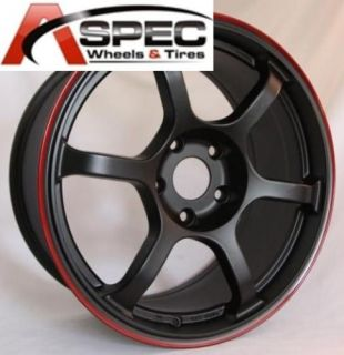 Rota Boost 17x8 5x100 ET48 Black Red Lip Wheels Rims