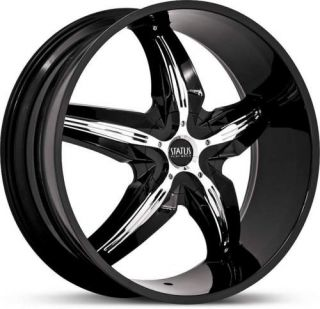 20 x7 5 Status Dystany S822 Black w Chrome Wheels Rims
