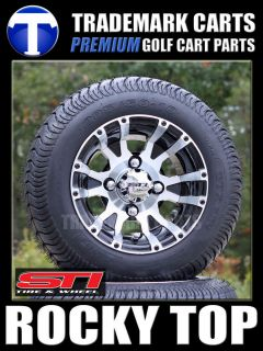 GOLF CART 205 50 10 LOW PROFILE TIRES AND ALUMINUM WHEELS FITS EZGO