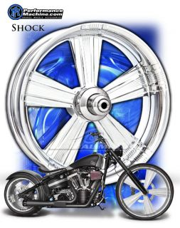 Performance Machine Shock Chrome Motorcycle Wheels Harley Streetglide