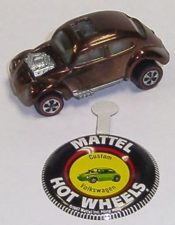 1967 Mattel Hot Wheels Redline Custom Volkswagen Brown w/ Button Near