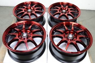 4x114 3 Red 4 Lug Effect Wheels Spectra Integra Aveo Vigor Yaris Rims