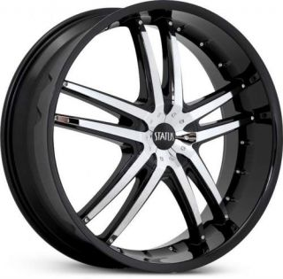 22 x7 5 Status Fang S820 Black w Chrome Wheels Rims