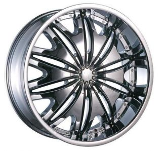 24 Wheels Rims Package Free Tires Velocity V820 Triple Chrome 5x135