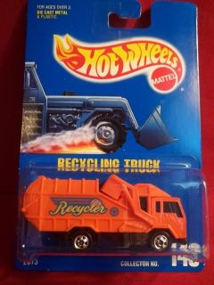Hot Wheels Orange Recycling Garbage Truck Diecast Collector Model #143