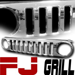 CHROME VERTICAL STYLE FRONT HOOD BUMPER GRILL GRILLE 07 11 TOYOTA FJ