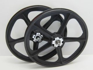 80s Hutch SKYWAY T A TUFF WHEEL II Metal Flange BMX Mag Wheels Black
