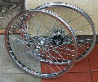 VTG OLD SCHOOL BMX ARAYA 7X RIMS WHEELS CHROME SUZUE HIGH FLANGE HUBS