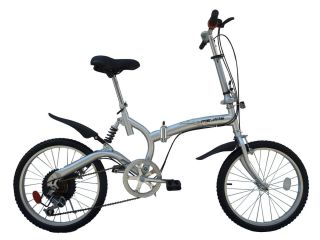 Silver 6 Speed 20 Alloy Wheels with City Tires Folding Bike Bumper