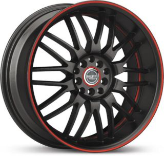 18 x8 Ruff Racing R951 Black w Red Stripe Wheels Rim