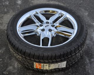 FORD EDGE 20 CHROME WHEELS TIRES 245 50 20 GOODYEAR TIRES STOCK Rims