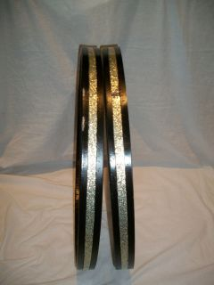 1950s Vintage Ludwig 22 Silver Sparkle Bass Drum Hoops Very Good