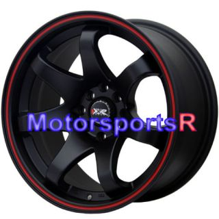 Black Red Stripe Concave Rims Wheels Stance 4x114 3 4x100 4x4 5