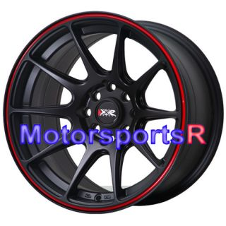 527 Black Red Stripe Concave Rims Wheels 4x100 90 00 05 Mazda Miata