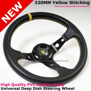 Honda Civic Accord 320mm Yellow Stitches Race Steering Wheel Horn
